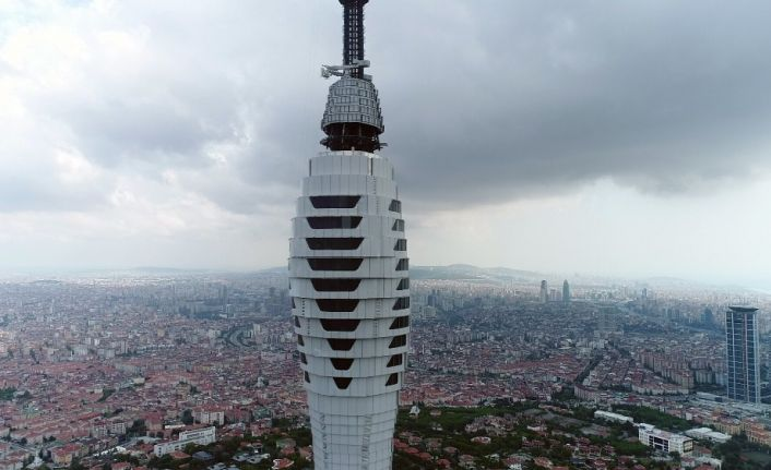 (Özel) Çamlıca Kulesi'nde gelinen son durum havadan görüntülendi