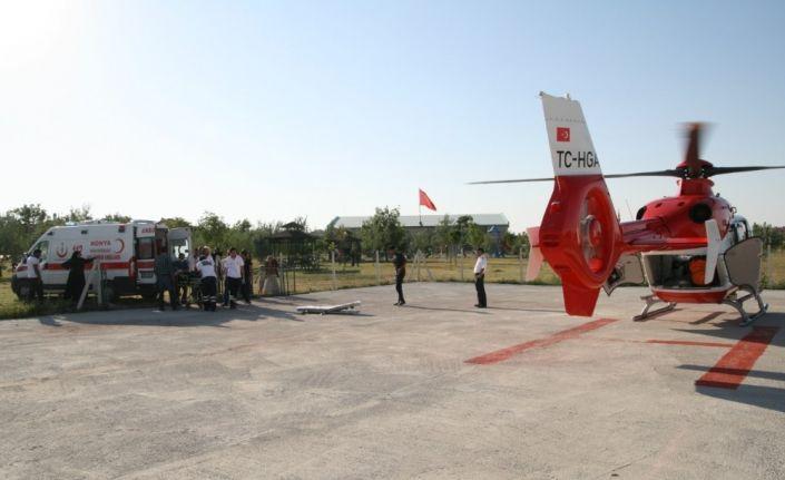 Kalp krizi geçiren hasta hava ambulansı ile taşındı