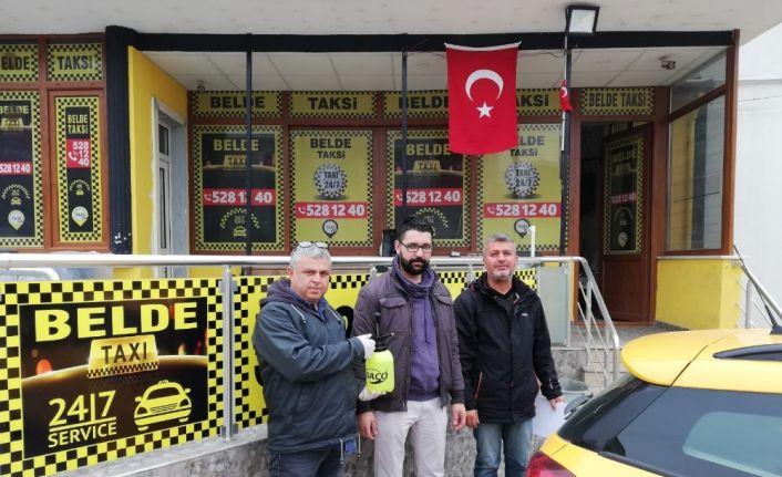 Körfez Belediyesi'nden taksicilere 'dezenfektan' pompası