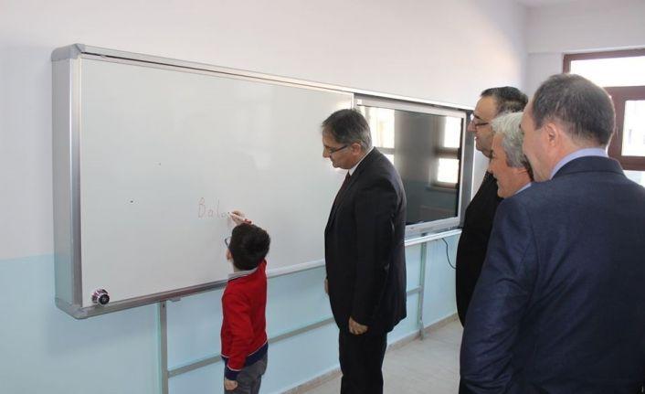Yapımı tamamlanan Balaban İlkokulda ilk ders zili çaldı