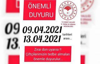 Sinop'ta çiftçilere zirai don uyarısı