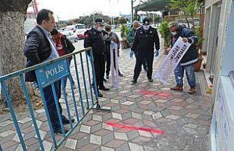 Akhisar Belediyesi sosyal mesafe çizgisi çekti
