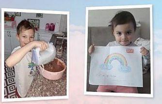 Evde kalan minikler hünerlerini sergileyip sosyal medya hesaplarından paylaştı