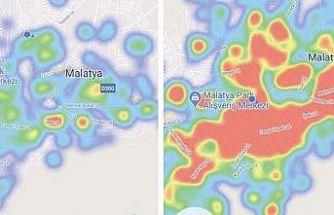 Malatya'da endişe veren korona virüs haritası