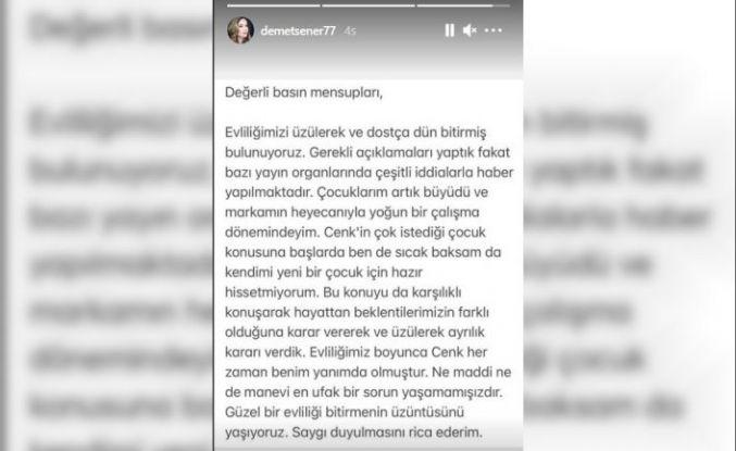 Demet Şener'den boşanma açıklaması